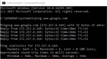 Ping Google DNS troubleshooting