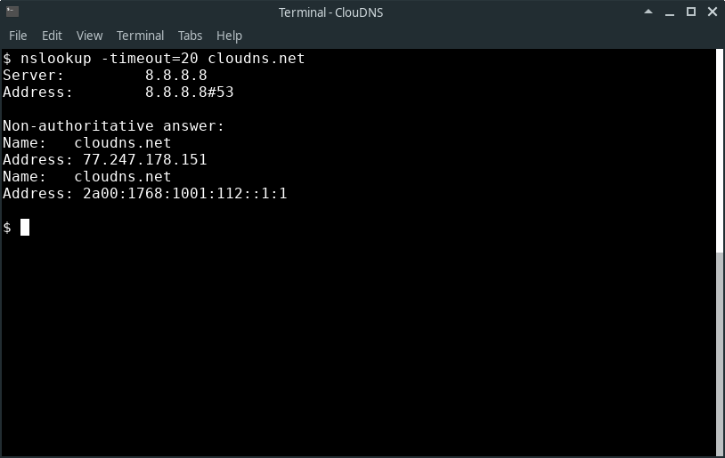 Command line: $ nslookup -port=56
