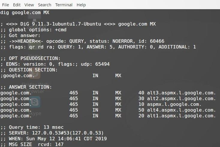 dig command MX record