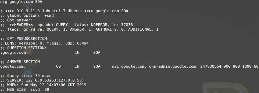 dig command SOA record