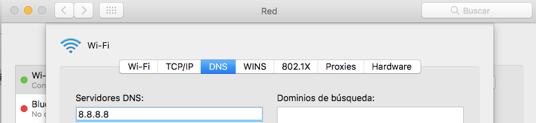 Mac OS DNS settings