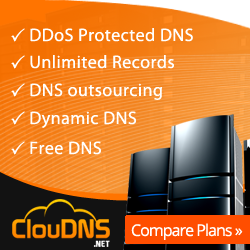 Cloud dns signup picture. Orange with white letters listing services.